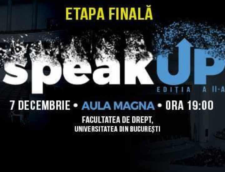 """Intact Media Academy la Facultatea de Drept: membri ai juriului în finala celei de-a doua ediții a competiției """"SpeakUp""""."""